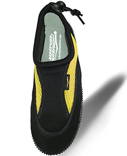 Wave Runner Quick Dry Wasserschuhe Aqua Socken Barfuß Slip-On mit verstellbaren Rückengurt für Männer Frauen Schwarz und Gelb