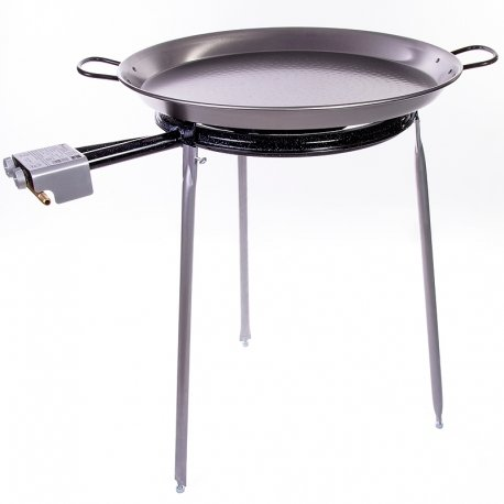 (Paella Pan Polished Steel + Paella Gas Burner and Stand Set - Complete Paella Kit for up to 20 Servings)