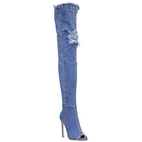 Femmes Femmes Au Dessus Du Genou Jeans Bottes Bottes Pour Genou Femmes Déchiré Peeptoe Bas Talon Aiguille Mi Jeans - Nf266 87481d3 - avtodorozhniks.space