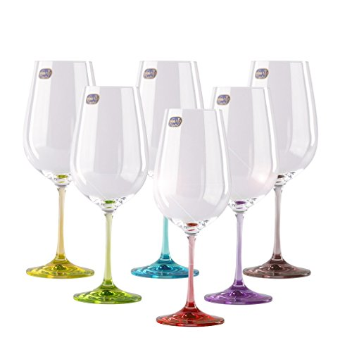 Decorated Colored Wine Glasses Set of 6 For Women, Birthday, Mixed & Vibrant, Decorative Rainbow Colorful Premium Stemware & Drinkware, 18.5 Ounces 550 Milliliters (Wine Set Decorated Glass)