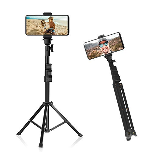 Emart Phone Tripod Stand, 51″ Detachable and Extendable Selfie Stick Tripod for iPhone/Android/Camera, Cell Phone Tripod with GoPro Adapter, Phone Holder and Bluetooth Remote for Video Recording