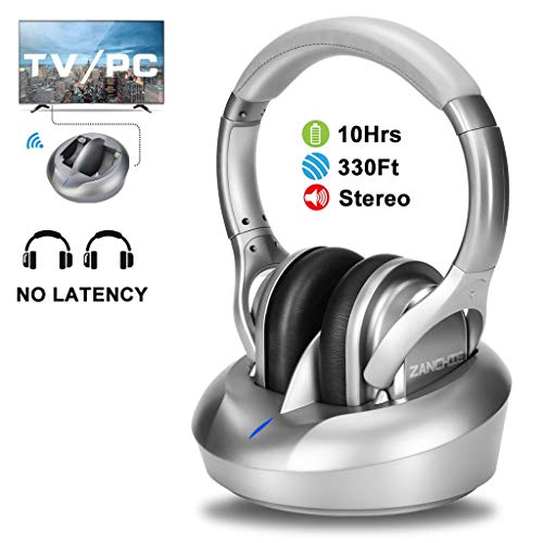 ZANCHIE Wireless TV Headphones Over Ear Headsets-RF Transmitter Charging Dock