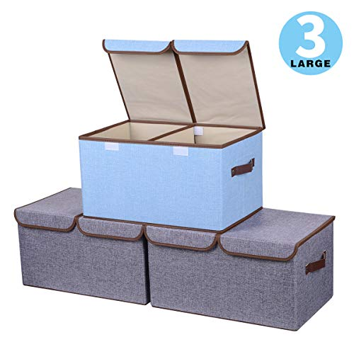 Yostyle Large Foldable Storage Cubes,Fabric Collapsible Storage Bins Organizer Basket Boxes Containers with Lid, Handles, Removable Divider for Home, Office, Nursery, Closet - (17.7 x 11.8 x 9.8)