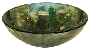 AQ BD-9536-SNK Glass Sink Vessel Round, 19mm Tempered Glass, Blue Tree Of Life, 16.5-Inch Diameter