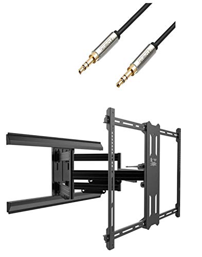 Kanto Full Motion TV Mount for Screens 100 Inches and Up to 150 Lbs with Extension Up to 31 Inches Plus 6ft Kubicle Aux Cable Bundle