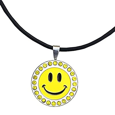Giggle Golf Bling Happy Face Magnetic Ball Marker Necklace