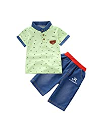 Jugendhj Babysuit ��������2PCS Toddler Baby Boy Kids Short Sleeve Clothes Sets T-Shirt and Shorts Outfits