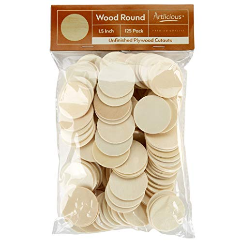 """Artlicious - 125 Unfinished Wooden Round Circle Cutouts - 1.5"""" Plywood Cutouts"""