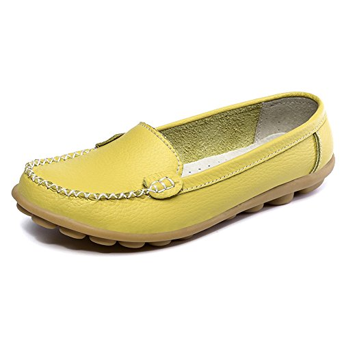 LINGTOM Women Moccasin Shoes Driving Genuine Leather Casual Slip-on flat Loafers Shoes