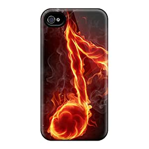 New Cute Funny Fire Music Note Case Cover/ Iphone 4/4s Case Cover