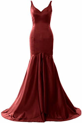 Prom Gown Formal Burgunderrot Neck Evening Satin Dress Long Tiered V MACloth Mermaid Women qSP1fgO