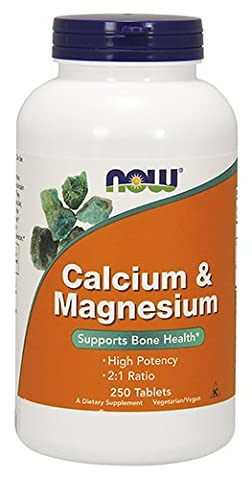 NOW Cal-Mag 500/250mg,250 Tablets - Mag 250 Tabs