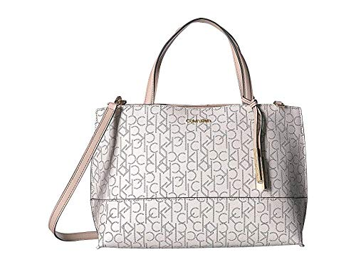Calvin Klein Women's Signature East/West Key Item Satchel Desert Taupe One Size East West Satchel Bag
