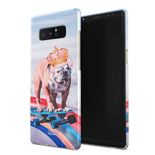Glitbit Compatible with Samsung Galaxy Note 8 Case French Bulldog Flying Rainbow Dog Trippy Laser Unicorn Doggo Funny Gift for Dog Lover Thin Design Durable Hard Shell Plastic Protective Case Cover