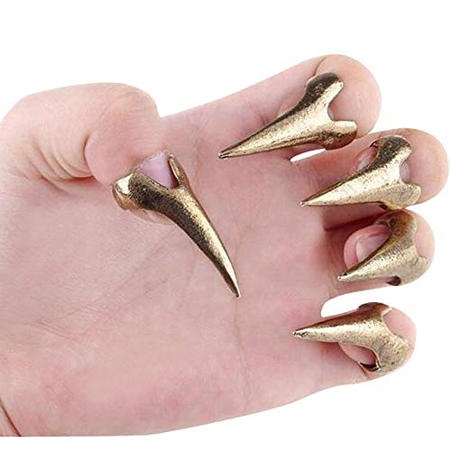 - Bewish 10pcs Gold Gothic Punk Rock Claw Talon Long Nail Finger Tip Spike Ring Nail Art Decoration