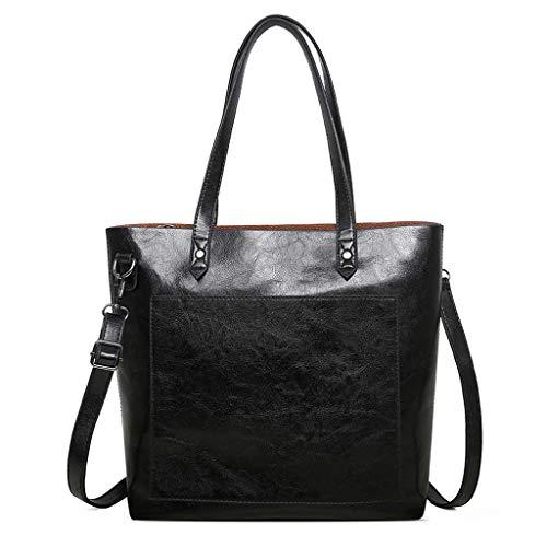 (Laptop Tote Bag, Women Large Capacity Top Handle Satchel Handbags Crossbody Bag (Black) )