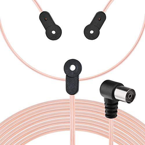 Bingfu Antena de Radio FM 75 Ohm Unbal Interior Dipolo Antena de Alambre Adaptador de TV Antena de Cable Receptor Compatible con Estéreo Onkyo Sony ...