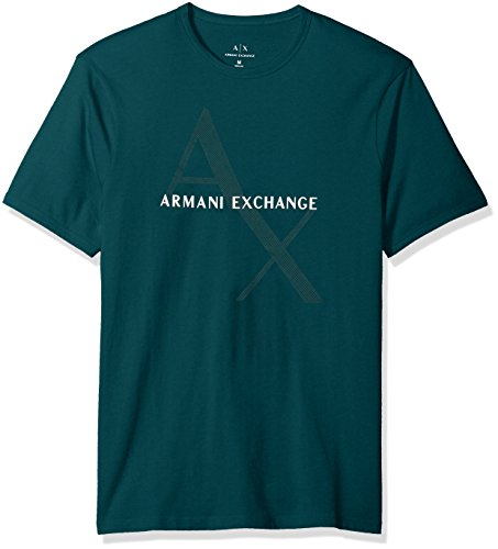 A|X Armani Exchange Men's Classic Cotton Logo Tee, Botanical Garden, S (Green Mens Armani T-shirts)