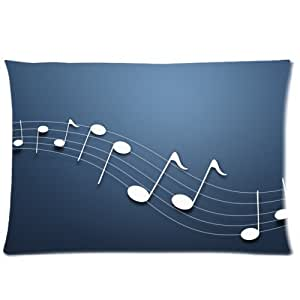 Music Note Pattern One Side Rectangle Pillowcase Pillow Cover 16x24 Inch
