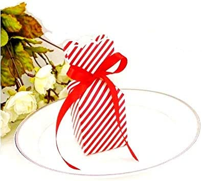 JZK 50 x Blanco rojo rayas caja favor cajitas regalos para boda ...