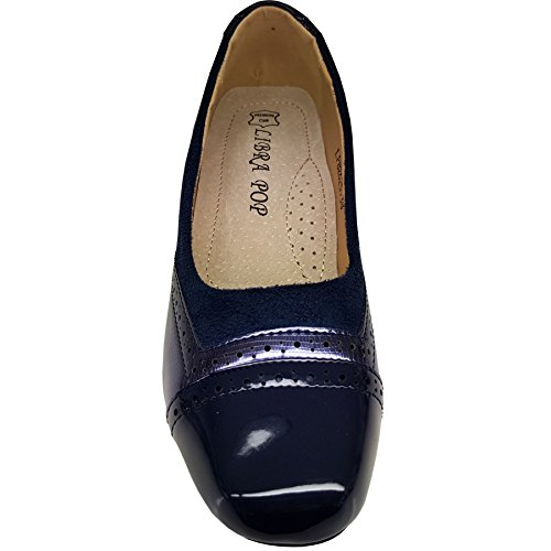 Fantasia Boutique Ladies Low Block Heel Slip On Patent Contrast Faux Suede Smart Office Heels Blue DEhb8vh