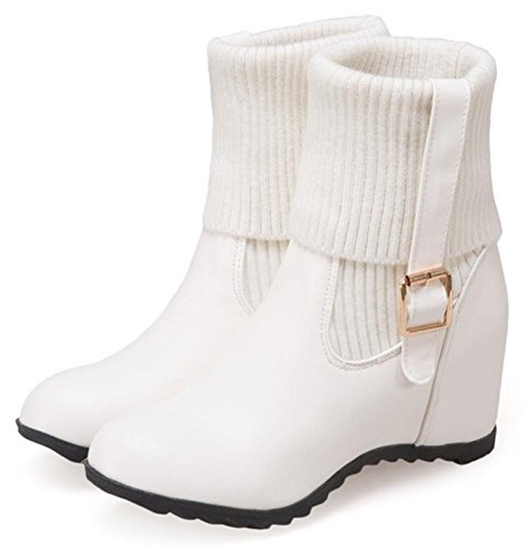 Wedge Booties Inside Mid Martin Mid Heels Dressy Women's Calf Round Easemax On White Toe Pull qOSAatWwX