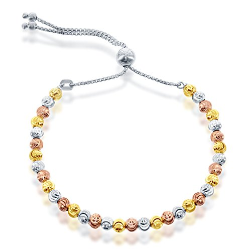 Sterling Silver Tri-Color Diamond-Cut MoonBeads Italian Adjustable Bracelet (Sterling Silver Tri Color Bracelet)