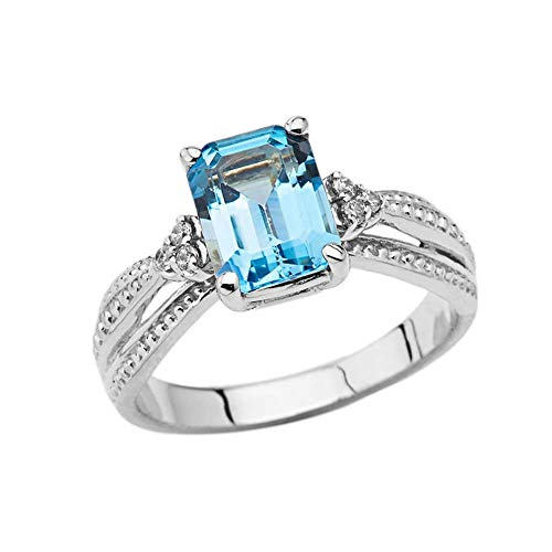 (Enchanting 10k White Gold Diamond with Emerald Cut Blue Topaz Engagement Ring (Size 4))