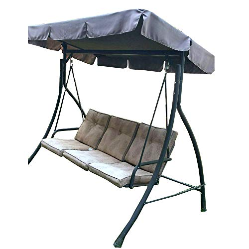 Garden Winds Replacement Canopy Top Cover for The HD Flat Roof 3 Person Swing – Standard 350 – Brown