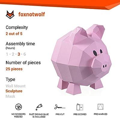 Paperraz DIY 3D Pig Sculpture Puzzle Low Poly PaperCraft Building Kit - NO Scissors Needed: Toys & Games