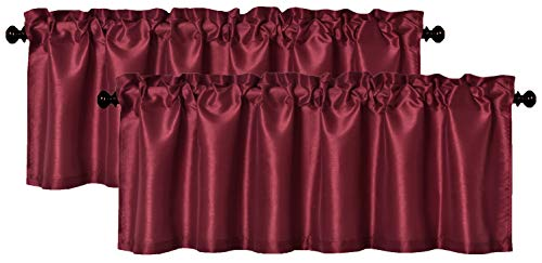 Aiking Home (Pack of 2) Solid Faux Silk Window Valance, 56 by 16 Inches, Burgundy (Red Valance Solid Window)
