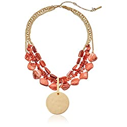 Kenneth Cole New York Orange Shell Multi-Row Pendant Necklace, 16''+3'' Extender