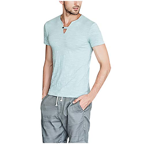(Alimao Scoop Neck Pleated Blouse Solid Color Lovely Button Tunic Shirt Men's Retro Button V-Neck Embroidery Linen Shirts Short Sleeve Linens Men's Short Sleeve Standard Woven Linen Cotton Shirt Blue)