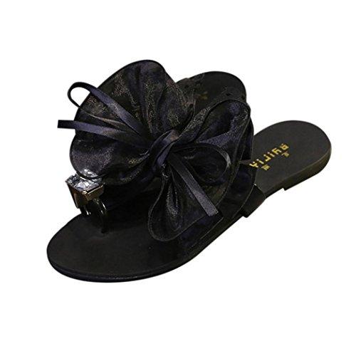 YANG-YI Clearance Women Flower Bow Flat Heel Toe Sandals Slipper Beach Shoes (Black, US-7.5)