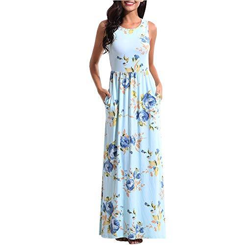 POHOK Dresses for Women Sleeveless Women Printing Summer O Neck Beach Casual Maxi Dress Floral Dress Sky Blue