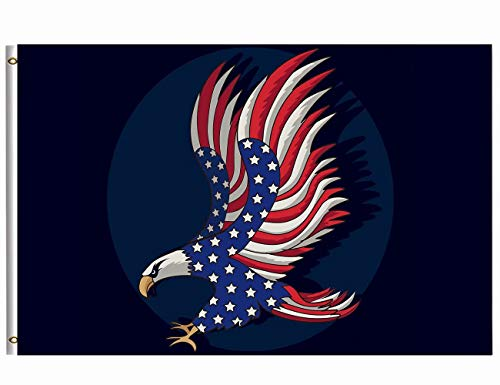Wamika Patriotic Eagle Flag 3x5 FT Brass Grommets Classic Funny Flying Eagles Star Striped US American Flag Veterans Day Garden House Banner Double Stitched Indoor Outdoor Holiday Home Decor