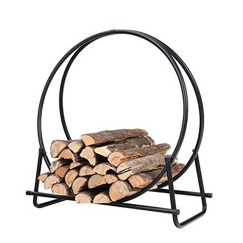 PHI VILLA 30 Inch Log Hoop Firewood Rack Fireplace Wood Storage Holder, Indoor/Outdoor Heavy Duty Iron Black (Panacea Log Hoop)
