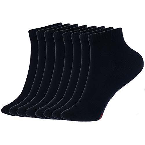 Alpine Swiss Mens 8 Pack Cotton Ankle Socks Athletic Performance Cushioned Socks Shoe Size 6-12 BLK