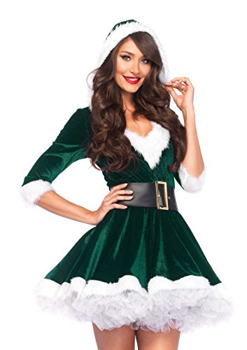 Leg Avenue Women's 2 Piece Mrs. Claus Costume, Green, Medium/Large