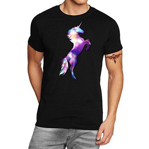 YISUMEI Men's T-Shirt Short Sleeve Tee Adult Unicorn Space Black X-Large