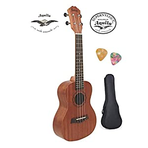 Juarez-JRZ23UKNA-23-Concert-Size-Ukulele-Kit-AQUILA-Strings-Sapele-Body-Rosewood-Fingerboard-Matte-Finish-with-Bag-and-Picks-Natural-Brown