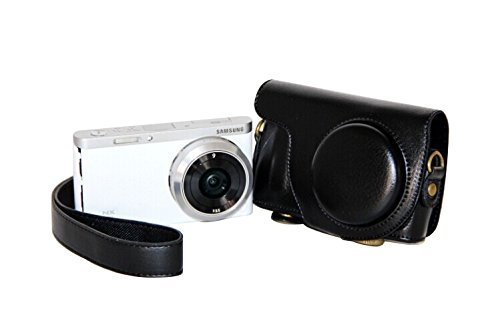 Leather Camera Case Bag Cover for Samsung NX mini with 9mm Fixed Focus Prim Lens (black)