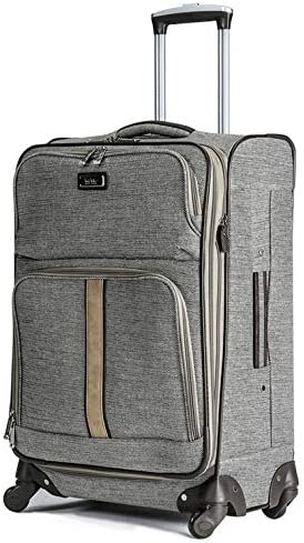 Nicole Miller New York Cameron Luggage Collection – Designer Lightweight Softside Expandable Suitcase- 20 Inch Carry On Bag with 4-Rolling Spinner Wheels Cameron Tan