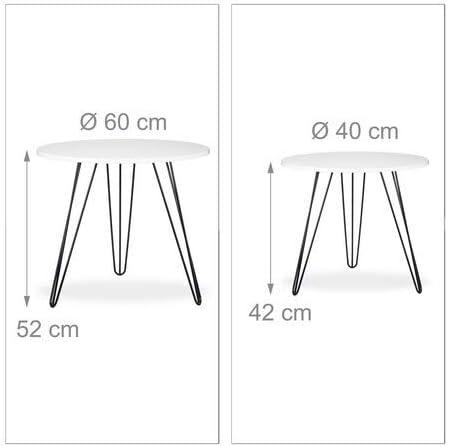 Relaxdays set 2 pezzi tavolino salotto rotondo legno e metallo HxD 52x60 cm per divano soggiorno laccato lucido bianco