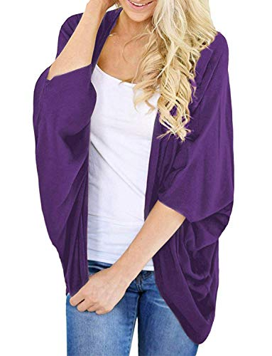 Women's Summer Cardigan Boho Solid Kimono Cover-up Shrug Tops (Purple, 3XL)