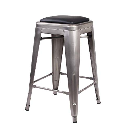 GIA 24-Inch Backless Counter Height Stool with Faux Leather Seat, Gunmetal/Black, 2-Pack