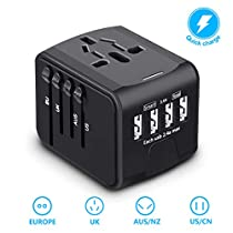 USB Universal Travel Adapter,BabyUnion International Power Plug Adapter,All in One Worldwide AC Outlet Charger Adapter with 4USB Charging Ports for Europe Travel, UK, US, AU Cell PhoneLaptop