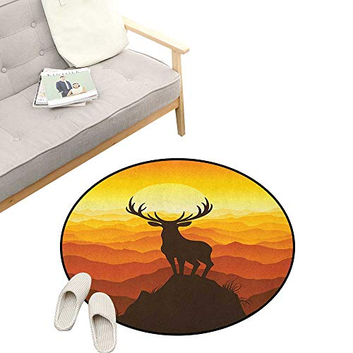 Antlers Round Rug Living Room ,Deer at Sunset Adventure Wildlife Panoramic Valley Hill Silhouette, Bedrooms Laundry Room Decor 47