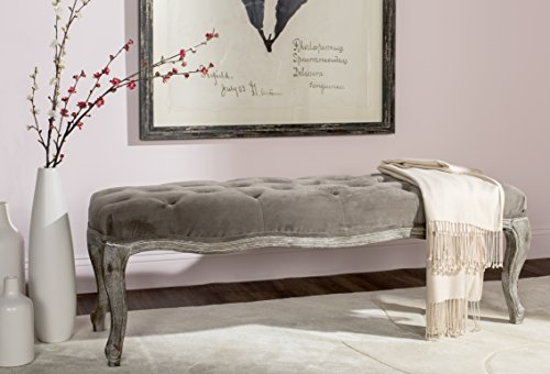Contemporary Oak Bench - Safavieh Mercer Collection Ramsey Bench, Mushroom Taupe