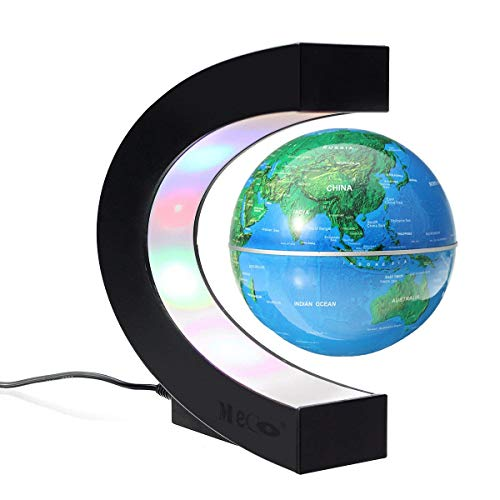 MECO 3'' Magnetic Levitation Floating Globe Funny C Shape World Map with Colored LED Light Anti Gravity Globe for Children Christmas Gift Home Office Desk Decoration -